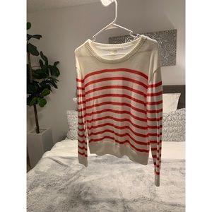 Jcrew white coral striped sweater